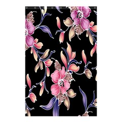 Neon Flowers Black Background Shower Curtain 48  X 72  (small)  by Simbadda