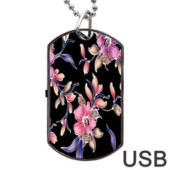 Neon Flowers Black Background Dog Tag Usb Flash (one Side) by Simbadda