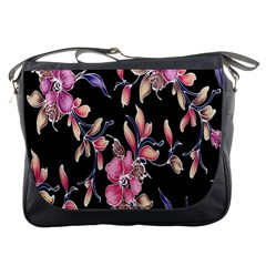 Neon Flowers Black Background Messenger Bags by Simbadda