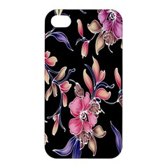Neon Flowers Black Background Apple Iphone 4/4s Premium Hardshell Case by Simbadda