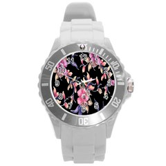 Neon Flowers Black Background Round Plastic Sport Watch (l) by Simbadda