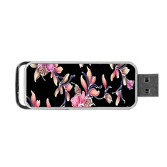 Neon Flowers Black Background Portable Usb Flash (two Sides) by Simbadda