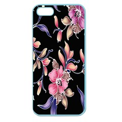 Neon Flowers Black Background Apple Seamless Iphone 5 Case (color) by Simbadda