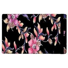 Neon Flowers Black Background Apple Ipad 3/4 Flip Case by Simbadda