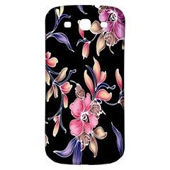 Neon Flowers Black Background Samsung Galaxy S3 S Iii Classic Hardshell Back Case by Simbadda
