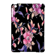 Neon Flowers Black Background Apple Ipad Mini Hardshell Case (compatible With Smart Cover) by Simbadda