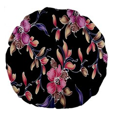 Neon Flowers Black Background Large 18  Premium Round Cushions by Simbadda