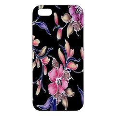 Neon Flowers Black Background Apple Iphone 5 Premium Hardshell Case