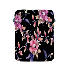 Neon Flowers Black Background Apple Ipad 2/3/4 Protective Soft Cases by Simbadda