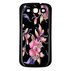 Neon Flowers Black Background Samsung Galaxy S3 Back Case (black) by Simbadda