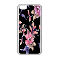 Neon Flowers Black Background Apple Iphone 5c Seamless Case (white) by Simbadda