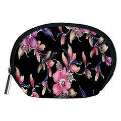Neon Flowers Black Background Accessory Pouches (medium)  by Simbadda