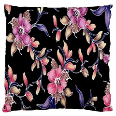 Neon Flowers Black Background Large Flano Cushion Case (two Sides) by Simbadda