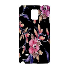 Neon Flowers Black Background Samsung Galaxy Note 4 Hardshell Case by Simbadda