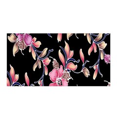 Neon Flowers Black Background Satin Wrap by Simbadda