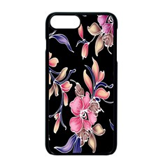 Neon Flowers Black Background Apple Iphone 7 Plus Seamless Case (black) by Simbadda