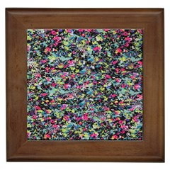 Neon Floral Print Silver Spandex Framed Tiles by Simbadda