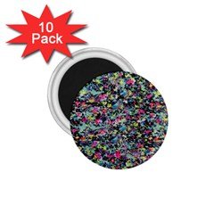 Neon Floral Print Silver Spandex 1 75  Magnets (10 Pack)  by Simbadda