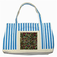 Neon Floral Print Silver Spandex Striped Blue Tote Bag by Simbadda