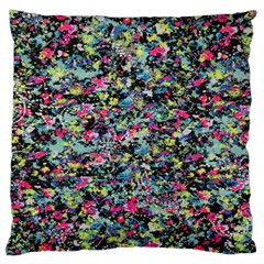 Neon Floral Print Silver Spandex Large Cushion Case (two Sides) by Simbadda