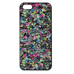 Neon Floral Print Silver Spandex Apple Iphone 5 Seamless Case (black) by Simbadda