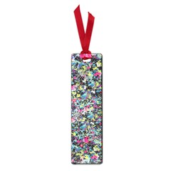 Neon Floral Print Silver Spandex Small Book Marks