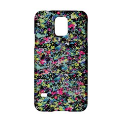 Neon Floral Print Silver Spandex Samsung Galaxy S5 Hardshell Case  by Simbadda
