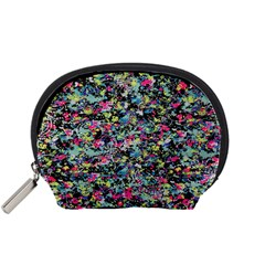 Neon Floral Print Silver Spandex Accessory Pouches (small)  by Simbadda