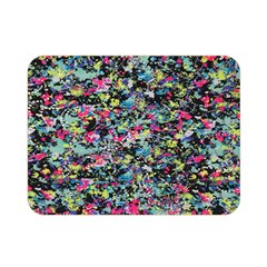 Neon Floral Print Silver Spandex Double Sided Flano Blanket (mini)  by Simbadda