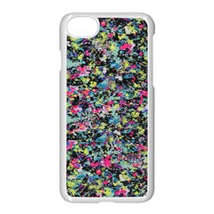 Neon Floral Print Silver Spandex Apple Iphone 7 Seamless Case (white) by Simbadda