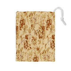Patterns Flowers Petals Shape Background Drawstring Pouches (large)  by Simbadda
