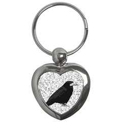 Black Raven  Key Chains (heart)  by Valentinaart