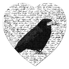 Black Raven  Jigsaw Puzzle (heart) by Valentinaart