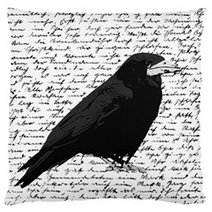 Black Raven  Large Cushion Case (two Sides) by Valentinaart