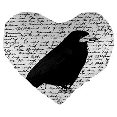 Black Raven  Large 19  Premium Flano Heart Shape Cushions by Valentinaart