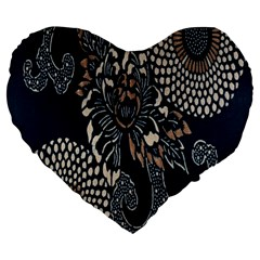 Patterns Dark Shape Surface Large 19  Premium Flano Heart Shape Cushions by Simbadda