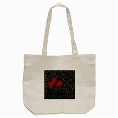 Red Tulips Tote Bag (cream) by Valentinaart