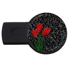 Red Tulips Usb Flash Drive Round (4 Gb) by Valentinaart
