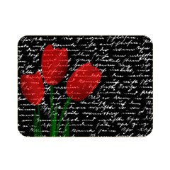 Red Tulips Double Sided Flano Blanket (mini)  by Valentinaart