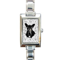 Cute Bulldog Rectangle Italian Charm Watch by Valentinaart