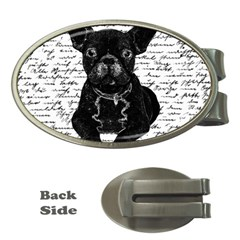 Cute Bulldog Money Clips (oval)  by Valentinaart