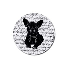 Cute Bulldog Rubber Coaster (round)  by Valentinaart