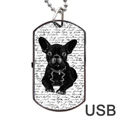 Cute Bulldog Dog Tag Usb Flash (one Side) by Valentinaart