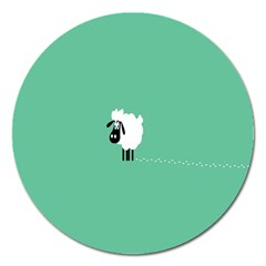 Sheep Trails Curly Minimalism Magnet 5  (round) by Simbadda