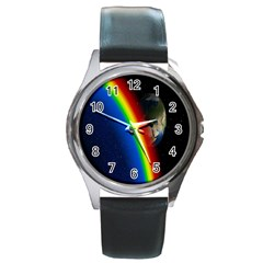 Rainbow Earth Outer Space Fantasy Carmen Image Round Metal Watch by Simbadda