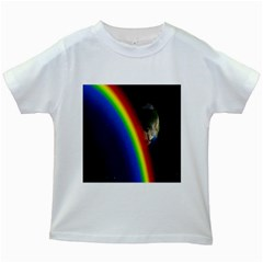 Rainbow Earth Outer Space Fantasy Carmen Image Kids White T Shirts