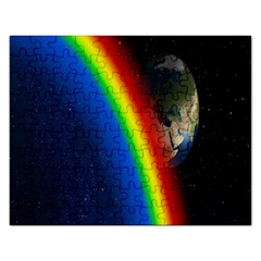 Rainbow Earth Outer Space Fantasy Carmen Image Rectangular Jigsaw Puzzl by Simbadda