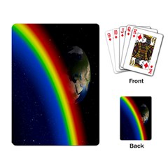 Rainbow Earth Outer Space Fantasy Carmen Image Playing Card by Simbadda