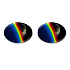 Rainbow Earth Outer Space Fantasy Carmen Image Cufflinks (oval) by Simbadda