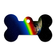 Rainbow Earth Outer Space Fantasy Carmen Image Dog Tag Bone (two Sides) by Simbadda